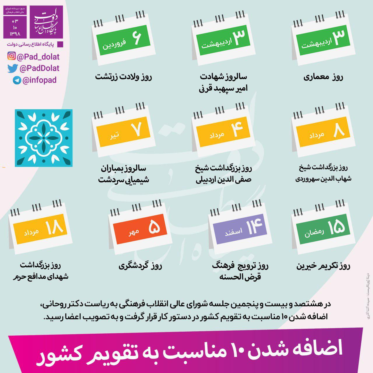اضافه شدن ۱۰ مناسبت به تقویم کشور