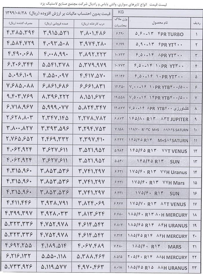 قیمت یزد تایر