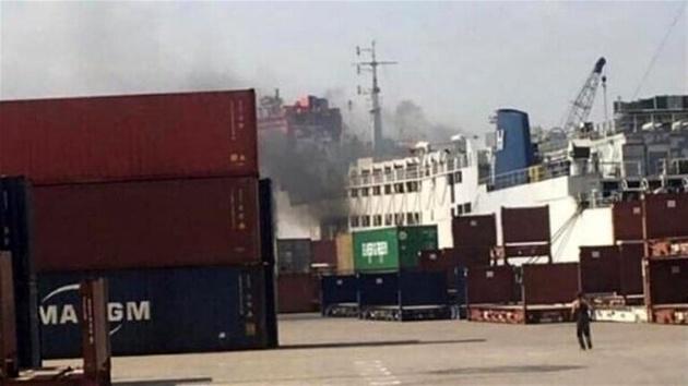 آتش سوزی در یک کشتی در بندر بیروت