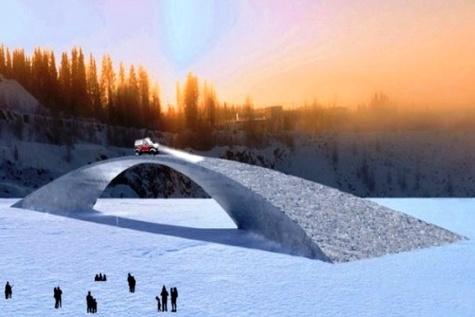 ساخت طولانی ترین پل تمام یخی جهان