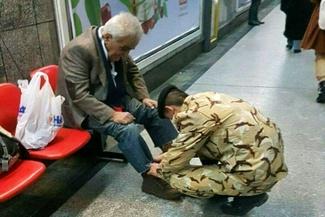 مترو، پیرمرد، سرباز!