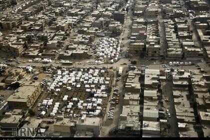 گزارش تصویری/ تصاویر هوایی از اسکان موقت زلزله زدگان