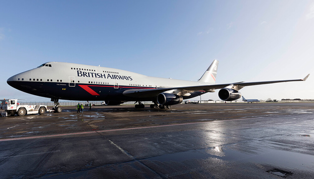 British Airways' Landor Liveried 747 Touches Down at Heathrow