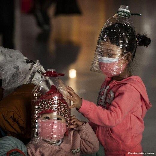 روش فرار کودکان چینی از ویروس کشنده کرونا در فرودگاه!