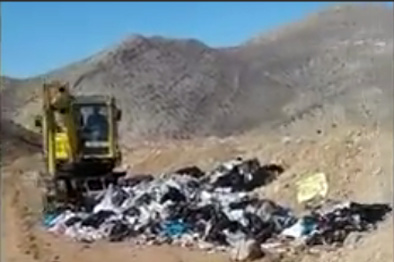 دفع زبالههای شهری در سایت تخلیه نخاله و پنهان کردن آن! + فیلم