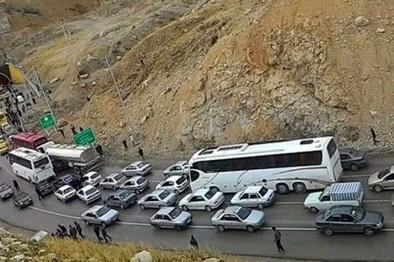 ترافیک در آزادراه قزوین-کرج-تهران/ بارش باران در کردستان و کرمانشاه