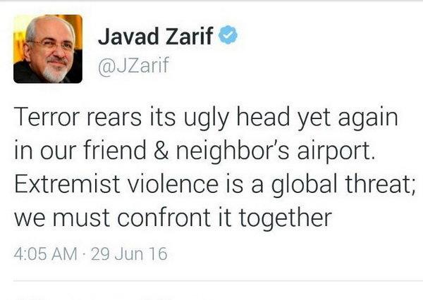پیام توئیتری ظریف درباره حملات فرودگاه آتاتورک