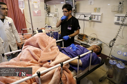 مجروحین حادثه واژگونی اتوبوس دانشگاه علوم تحقیقات