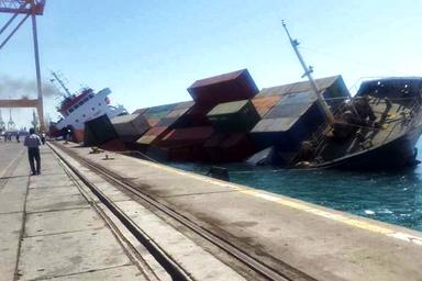 غرقشدن کشتی با صدها کانتینر در بندر شهیدرجایی
