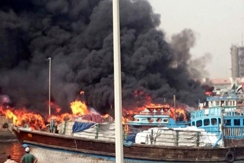 آتش سوزی در بازار ته لنجی آبادان