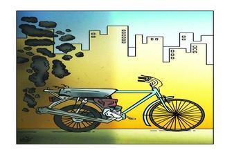 کاریکاتور/دوچرخه جایگزین وسایل نقلیه دودزاد