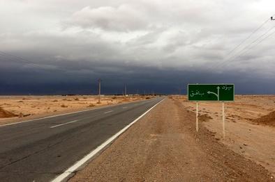 عکس| ترافیک در جاده یزد به دلیل طوفان