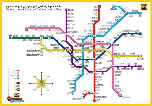 نقشه جدید مترو تهران پس از افتتاح خط ۷ مترو