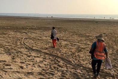 ساحل گناوه از لاستیکها و ضایعات پاکسازی شد