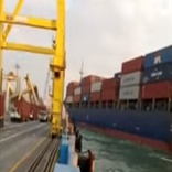 Feeder Ship Hits Gantry Crane at Indonesia's Terminal