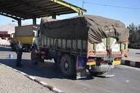 فیلم| صف طولانی کامیونها در بازرسی نایین