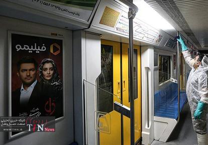 ضدعفونی و شست و شوی واگن های بی آر تی و مترو در تهران
