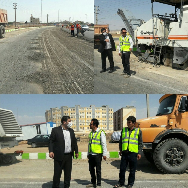 بازدید فرماندار تاکستان از اجرای عملیات آسفالت ورودی این شهر