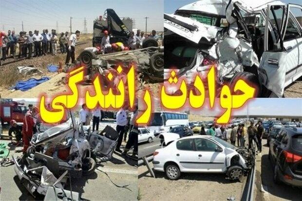 ۱۴ مصدوم در تصادف اتوبوس با تریلی در عوارضی قزوین - کرج