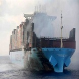 Fire-Stricken Maersk Honam Reaches Anchorage