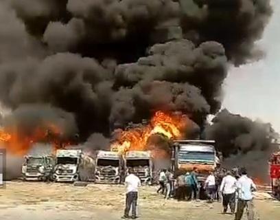 ببینید| انفجار شش تریلی حامل سوخت در کرمانشاه