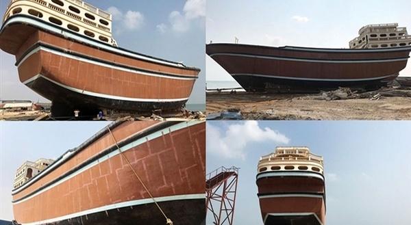 بزرگترین لنج فایبرگلاس صادراتی در قشم به آب اندازی شد
