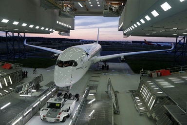 First Air France Airbus A350-900 rolls out of the paint shop