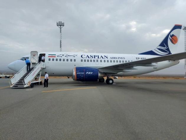 اولین پرواز کاسپین در جیرفت به زمین نشست
