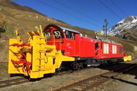 Rebuilt snow blower on the Matterhorn Gotthard Bahn
