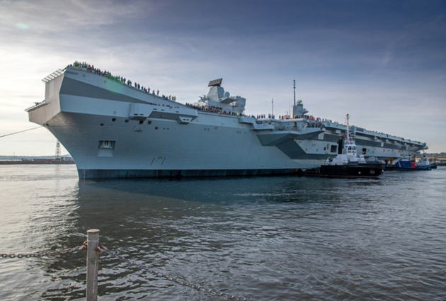 UK's new aircraft carrier sets sail